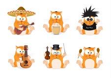 Een reeks katten van verschillende muzikale stijlen Stock Foto