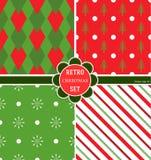 Een reeks Kerstmispatronen, 4 species voor hun Kerstmisvakantie, vectorbeeld Een helder grafisch ontwerp Grappig verpakkend docum Royalty-vrije Stock Foto