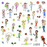 Een reeks kinderen ` s en volwassenen` cijfers in kinderen` s stijl worden geschilderd, belast met diverse de zomersporten die Pe Stock Afbeelding