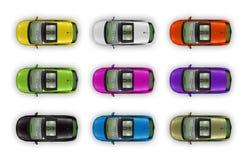 Een reeks kleurrijke auto's Stock Afbeelding