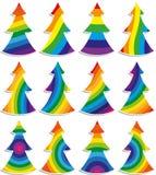 Een reeks kleurrijke Kerstbomen Royalty-vrije Stock Afbeeldingen