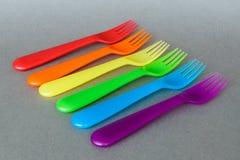 Een reeks kleurrijke plastic vorken Royalty-vrije Stock Afbeelding