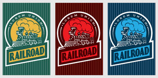 Een reeks kleurrijke retro affiches met een uitstekende locomotief stock illustratie