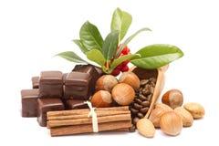 Een reeks kruiden voor koffie - kaneel, koffie, thee, amandel, hazelnoot, chocolade royalty-vrije stock afbeeldingen