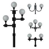 Een reeks lampen voor straatverlichting Stock Foto