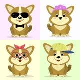 Een reeks leuke hondkarakters in verschillende beelden in de stijl van een beeldverhaal vector illustratie