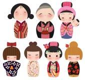 Een reeks leuke Japanse kokeshikarakters. Stock Foto's