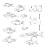 Een reeks leuke vissen met vistuig in een lineaire stijl Stock Foto's