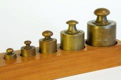 Een reeks loodgewichten stock fotografie