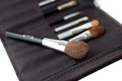 Een reeks make-upborstels Stock Afbeelding
