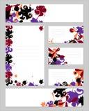 Een reeks malplaatjes voor het ontwerp van tekst en collectieve identiteit Bureaulay-out met kleurrijke abstractie Geschreven env stock illustratie