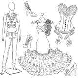 Een reeks maniertoebehoren de kleding en de schoenen van vrouwen stock illustratie