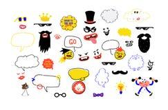Een reeks maskers voor partijen Een veinzerijillustratie van de snor, de glazen en de toebehoren voor de partij Grappig boekgeld  royalty-vrije illustratie