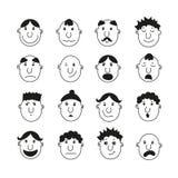Een reeks menselijke gezichten met emoties Stock Afbeelding