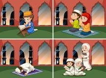 Een reeks mensen bij moskee royalty-vrije illustratie