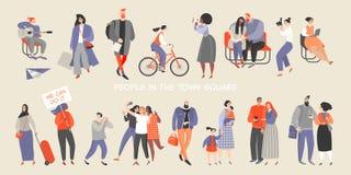 Een reeks mensen die tijd in het stadsvierkant doorbrengen De beeldverhaalkarakters zitten op de banken, gaan winkelend, berijden royalty-vrije illustratie