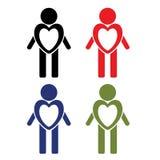 Een reeks mensen in verschillende kleuren met een specifiek hart Pictogrammen: Liefde, gezondheid en hulp Stock Fotografie