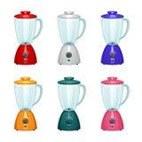 Een reeks mixers van verschillende kleuren Stock Foto's