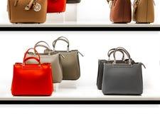 Een reeks modieuze en moderne handtassen van verse en relevante modellen in een showcase van een manierboutique royalty-vrije stock foto's