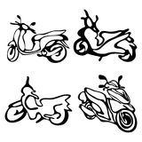 Een reeks motorfietsen in een schetsstijl royalty-vrije illustratie
