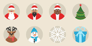 Een reeks Nieuwjaar ` s of Kerstmispictogrammen Vlak Ontwerp Vector De leuke karakters De traditionele elementen van de vakantie Stock Foto's
