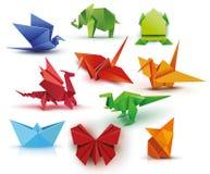 Een reeks origami vector illustratie