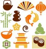 Een reeks orinental en pictogrammen Zen royalty-vrije illustratie