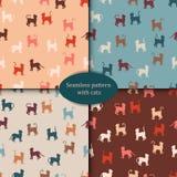Een reeks patronen De kleurrijke katten silhouetteren naadloos patroon Royalty-vrije Stock Foto