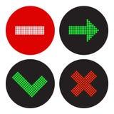 Een reeks pictogrammen in de stijl van een verkeerslicht Stock Foto's