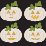 Een reeks pictogrammen met ongebruikelijke witte pompoenen Royalty-vrije Stock Afbeelding