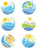 Een reeks pictogrammen - Reis, Toerisme en Vrije tijd Stock Foto's