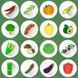 Een reeks pictogrammen van verschillende groenten in een witte cirkel met een schaduw op een groene achtergrond vector illustratie