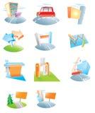 Een reeks pictogrammen voor een reclamebureau Stock Foto's