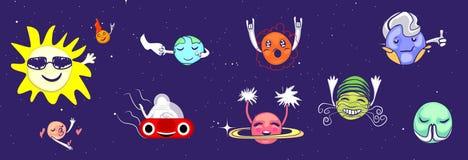 Een reeks planeten met gezichten De planeten in ruimte zien royalty-vrije illustratie