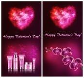 Een reeks prentbriefkaaren voor de Dag van Valentine ` s royalty-vrije illustratie