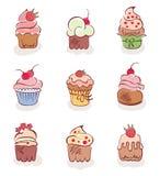 Een reeks pretcakes Royalty-vrije Stock Afbeelding
