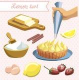 Een reeks producten en ingrediënten voor pastei royalty-vrije illustratie