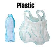 Een reeks roosterelementen - een plastic fles en een pakket vector illustratie