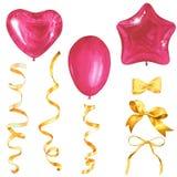 Een reeks roze ballons en gouden linten Het Schilderen van de waterverf Met de hand gemaakte tekening Geïsoleerd op wit royalty-vrije stock afbeeldingen