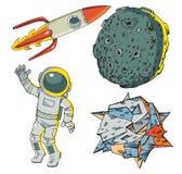 Een reeks ruimtekarakters Stock Foto's