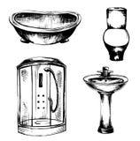 Een reeks schetsen van loodgieterswerk, illustratietoilet, badkamers Royalty-vrije Stock Afbeeldingen