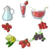 Een reeks schetstekeningen Ingrediënten voor stempel, limonade, aardbei, framboos, bosbes, Amerikaanse veenbes, kalk menu stock illustratie