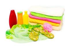 Een reeks schoonheidsmiddelen en toebehoren voor het baden Stock Foto