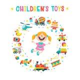 Een reeks speelgoed van kinderen Vector illustratie Stock Afbeelding
