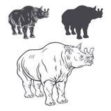 Een reeks stencils van brontotherium Royalty-vrije Stock Afbeeldingen