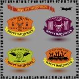 Een reeks stickers voor Halloween in de vector van de kleurenstijl Stock Foto's