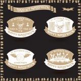 Een reeks stickers voor retro vector van Halloween Stock Foto's