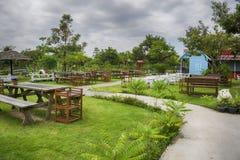Een reeks stoelen in de tuin Stock Afbeelding