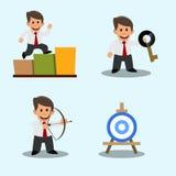 Een reeks tekeningen van een jonge zakenman Succes Het bereiken van het doel De oplossing van het probleem Stock Foto's