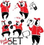Een reeks tekeningen van rood-zwarte mensen Royalty-vrije Stock Afbeelding
